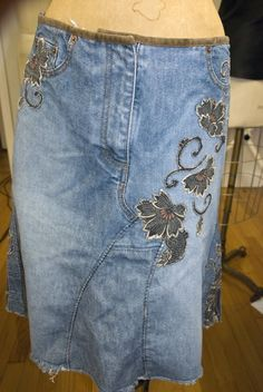 Another style of patching old jeans into a cool style skirt.