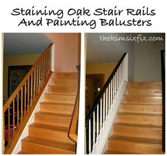 How to update traditional oak stair rails.. using stain and paint for a two tone look.
