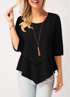 Dellukee Blouses for Women Elegant 2018 Ruffle Flowy Short Sleeve Tunic Tops Loose Shirts Stylish Tops For Girls, Trendy Tops For Women, Blouses For Women, Ladies Blouses, Women's Blouses, Flowy Shirts, Loose Shirts, How To Roll Sleeves, Half Sleeves