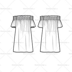 Fashion Flat Vector Template Women's sketch of an off shoulder smocked flutter dress. Sketches are CADed up and all the outline strokes are connected.