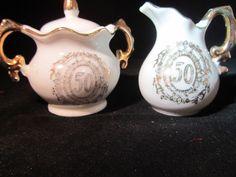 Lefton 50TH ANNIVERSARY Miniature Creamer & Sugar Bowl set Gold Trim  Fine China #Lefton#50th