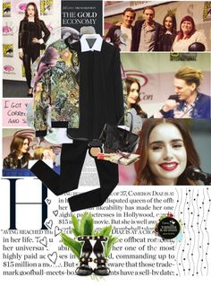 """""""Get the Look: Lily Collins with Jamie Campbell, event at """"City of Bones""""."""" by jesssilva ❤ liked on Polyvore"""