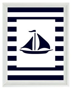 Nautical Nursery Sailboat Wall Art Print   Navy by RizzleandRugee, $15.00