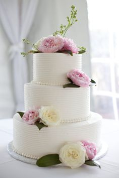 White Cake with Flowers (in your wedding colors)