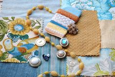 Dusty Blue and Butter Yellow Inspiration Kit by JustBeenMeBoutique, $10.00