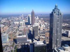 View of Atlanta from atop the Westin Peachtree Plaza via the Sundial Lounge.