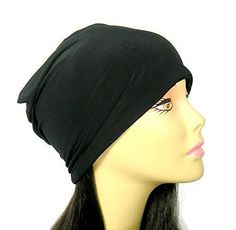 "Black Lycra Skullcap Helmet Liner Chef's Headgear Lightweight Slouchy Beanie Spandex Slouchy Beanie Black Summer Slouchy Hat. High end silky soft black or white lycra is fashioned into a comfortable all seasons slouchy beanie for men and women. Perfect for food services, culinary school, lining a helmet or just a bad hair day. Approximate Measurements: stretches to 24"" circumference X 9"" lying flat. Custom sizes available: Measure around your head where you want the brim of the hat to…"