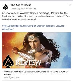 We bring #WonderWomanWeek to a close today as it is officially #WonderWomanDay. To celebrate I'm posting all of my @AceOfGeeks articles from this week. Here's the review from Friday... LINK: http://ift.tt/2s56TWQ  #WonderWoman #Classic #Saturday #sexy #DCComics #ComicBooks #GalGadot #Equality #Love #SuperHeroes #LyndaCarter #action #passion #women #LGBT #OldSchool #imwithher #JusticeLeague #film #comics #Power #Action #wisdom #feminism #truth #WithWonderWoman #submission #NerdAlert  CONNECT…