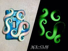 Light Switch Cover Glow in the Dark wall art by AceofClay on Etsy