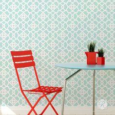 Kitchen Makeover using Bright, Bold, and Geometric Wall Stencils - Mamounia Moroccan Trellis Wall Stencils - Royal Design Studio