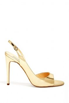 gold metallic sling backs.
