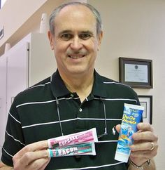 "Dr. Bruyere brushed his teeth with bacon flavored toothpaste as part of Facebook fun.  His quote afterward, ""That was nasty...just awful!""                                                       #SmileOasis.com"