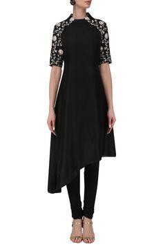 KAVYA CHANDRA Black asymmetric tunic with churidaar pants. Shop Now! #kayvachandra #black #asymmetrickurta #embroidered #pants #indianfashion #indiandesigners #perniaspopupshop #happy-shopping