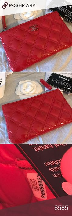 💋Chanel Case💋 Authentic Gorgeous Chanel patent leather Case. Preloved beautiful bright red patent leather with silver hardware. Hardly used. Two tiny dots on the outside that you don't notice unless pointed out, look more like a sparkle. Use for your cards, cash, coins or cosmetics. Comes with the authenticity card and copy of receipt. No trades! CHANEL Accessories