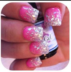 New Sparkly Acrylic Nails Glitter Hot Pink Ideas Acrylic Nails Glitter Ombre, Short Square Acrylic Nails, Pink Ombre Nails, Sparkly Nails, Pink Glitter, Super Nails, Nagel Gel, Acrylic Nail Designs, Trendy Nails