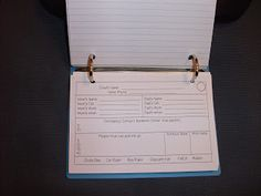 4x6 note cards for parent/guardian contact information, printed and then bound for quick reference.
