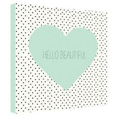 """Add a charming touch to your master suite or powder room with this lovely canvas print, showcasing a heart and polka-dot motif with typographic details.   Product: CanvasConstruction Material: Polyester and cotton canvasFeatures: Designed by Allyson Johnson for DENY DesignsPolka-dot motifTypographic detailsGallery wrappedHandmadeDimensions:  24"""" H x 24"""" W x 1.5"""" D"""