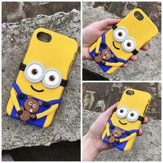 Polymer clay handmade homemade gru minion telephone case iphone teddy bear cartoon yellow