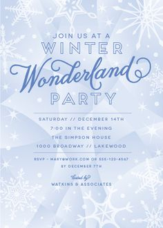 winter wonderland party invitations | functions | pinterest, Party invitations
