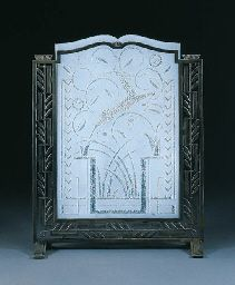 ETCHED GLASS AND WROUGHT-IRON FIRESCREEN  EDGAR BRANDT, CIRCA 1925