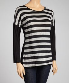 Love this Black & Gray Stripe Maternity Scoop Neck Top - Women by Three Seasons Maternity on #zulily! #zulilyfinds