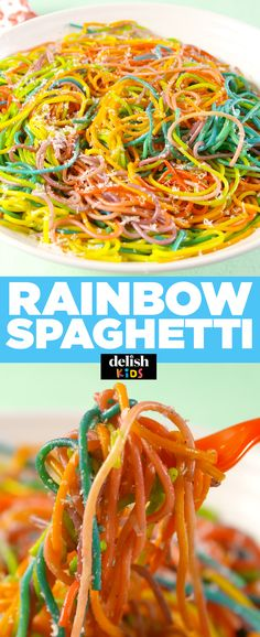 You won't believe how easy it is to make Rainbow Spaghetti. Get the recipe at Delish.com. #rainbow #spaghetti #rainbowspaghetti #kids #recipe #easyrecipe #Pasta