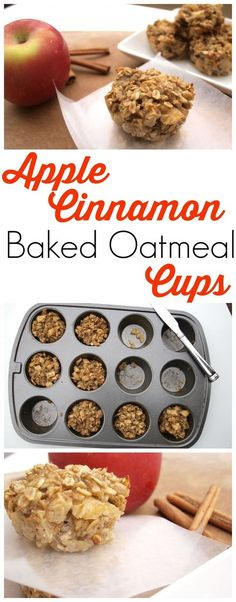 These Apple Cinnamon Baked Oatmeal Cups are a perfect portable oatmeal option!, Apple Cinnamon Baked Oatmeal Cups are a perfect portable oatmeal option! My kids love these and they are super healthy. It& so easy to mix . Healthy Baking, Healthy Snacks, Healthy Recipes, Easy Snacks, Snacks Kids, Apple Recipes Healthy Clean Eating, Apple Recipes Easy, Easy Meals, Healthy Sugar