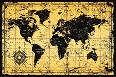 World map gold on black father gold and black antique world map poster vintage old style decorative classroom print 24 x 36 gumiabroncs Image collections