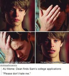 """"""" I blinked at my younger brother, """"Sammy I'm damn proud of you. I just wish you told me sooner. Supernatural Bloopers, Supernatural Tattoo, Supernatural Quotes, Castiel, Supernatural Crossover, Supernatural Wallpaper, Winchester Boys, Winchester Brothers, Ugly Faces"""