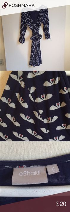 Heart swan wrap dress Gorgeous wrap dress. Swan with heart pattern. Luxurious and soft. Mid calf length. eshakti Dresses