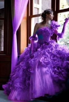 Purple wedding gown- Purple is my favorite color, but this is way too much fluff! Purple Love, Mode Purple, All Things Purple, Purple Lilac, Shades Of Purple, Deep Purple, Purple Stuff, 50 Shades, Purple Wedding Gown