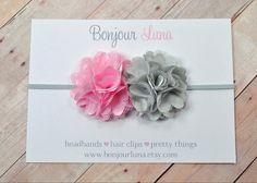 Pink Gray Flower Baby Headband