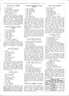 Kitchen Klatter Magazine, September 1949 - Orange Nut Crisps, Chocolate Chip Oatmeal Cookies, Ice Box Cookies, Ginger Snaps, Mother Verness' Ginger Cookies, Sweet Chunk Pickles, Baked Fish with Nuts, Pineapple Cheese Dressing, Lemon Pie Dessert, Paradise Salad, Delicious Sundae