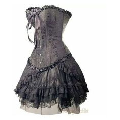 Gothic Black Brocade CORSET Top & Lace Mini Skirt   XXXL 3X Plus... ❤ liked on Polyvore featuring intimates, dresses, gothic corset, lace corset, brocade corset and goth corset