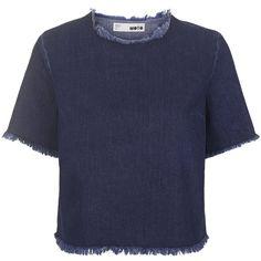 TOPSHOP MOTO Raw Hem Denim T-Shirt ($50) ❤ liked on Polyvore featuring tops, t-shirts, shirts, tees, blusas, indigo denim, denim tee, boxy shirt, boxy tee and denim t shirt