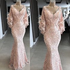 feather evening dresses long pink lace applique v Mermaid Gown Prom, Mermaid Evening Gown, Lace Evening Dresses, Evening Gowns, Long Prom Gowns, Ball Gowns Prom, Prom Dresses, Prom Outfits, Bride Dresses
