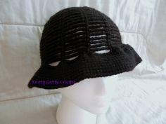 Black Chain Lace Sun Hat (crochet)