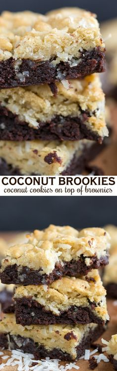 Coconut Brookies are part brownie, part coconut sugar cookies. Two easy recipes combine into one decadent bar cookie. This is the perfect potluck recipe!