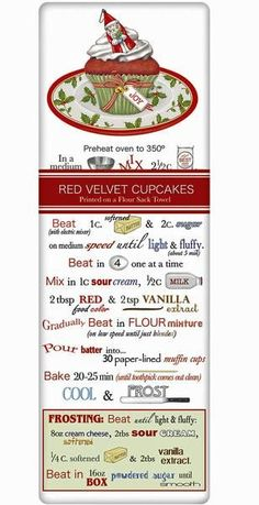 Red Velvet Cupcakes Recipe 100% Cotton Flour Sack Dish Towel Tea Towel