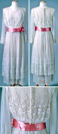 White party dress, B. Siegel, Detroit, 1919. Tunic skirt of re-embroidered lace. Originally dress had a blue sash and flowers. Oakland Univ., Meadow Brook Hall