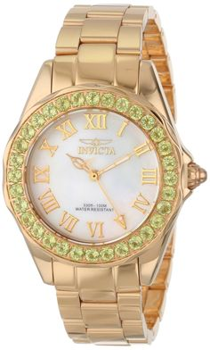 Invicta Women's 14149 Angel White Mother-Of-Pearl Dial 18k Gold Ion-Plated Stainless Steel Watch.  Bringing you the best luxury watches online at the most affordable prices for premium brand name watches: http://www.bestwatches1st.com/#!invicta-angel-watch-collection/kb04e