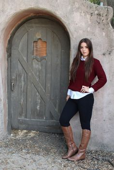 Burgundy Sweaters & Riding Boots