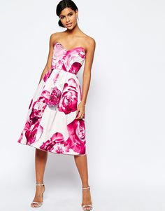 Image 4 of ASOS Bright Pink Floral Bandeau Midi Prom Dress