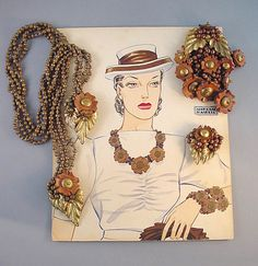 Hess designed lariat necklace, with the advertising art work. A Frank Hess for Miriam Haskell, it is unsigned as was typical for this era, circa 1940.