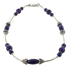 Purple Oval Fossil & Sterling Silver Tubes Beaded Gemstone Anklet