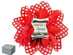 Pergamena metallo argentato Laurea Medicina e Chirurgia con scatola e confetti inclusi