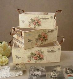 Discover thousands of images about Decoupage Decoupage Vintage, Decoupage Box, Vintage Shabby Chic, Shabby Chic Crafts, Shabby Chic Decor, Decoupage Furniture, Diy Furniture, Wooden Crates, Wooden Boxes