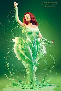 Incredible Marvel & DC Splash Superheroine Costumes Created from Liquid
