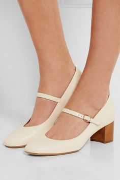 Wood-effect heel measures approximately 50mm/ 2 inches Cream leather Buckle-fastening strap Made in Italy