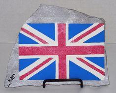 Mod British Flag/Union Jack Flagstone Small Painting By Elissa Shakal (W/Easel) #NA